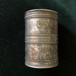 Silver Engraved Cuff Bracelet